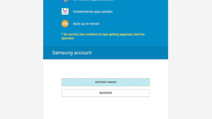 Set up Samsung account