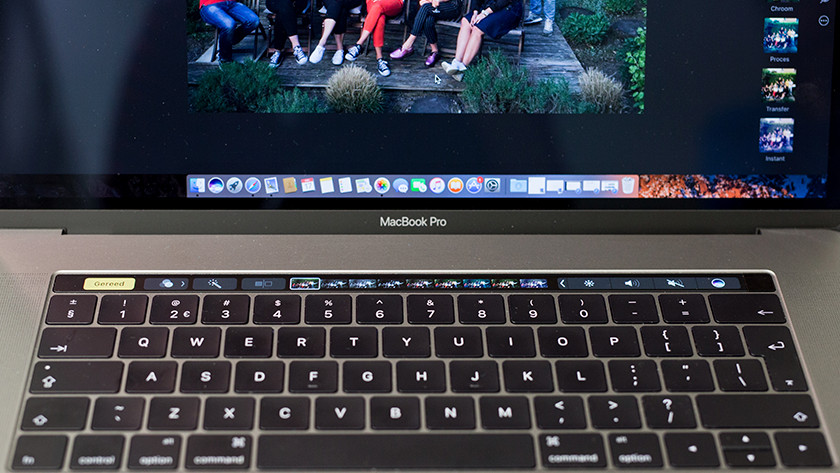 Edit photos on Touch Bar MacBook.
