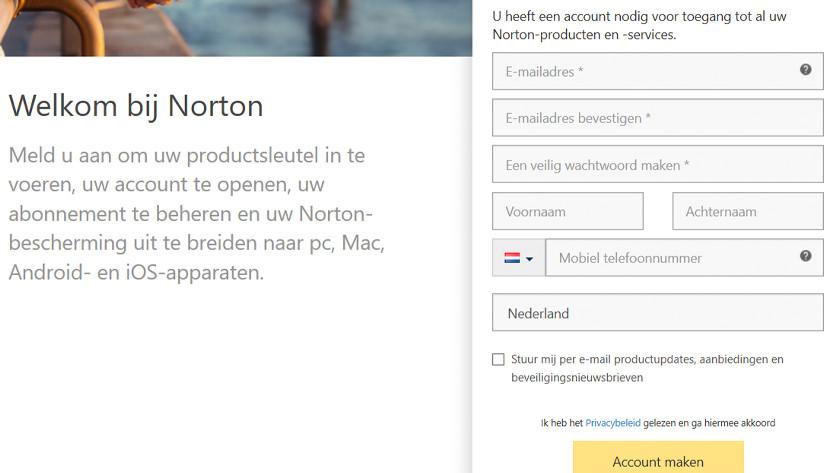 Account maken Norton