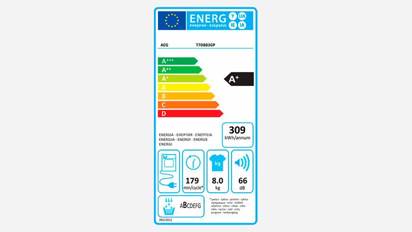Energielabel AEG 7000 wasdroger