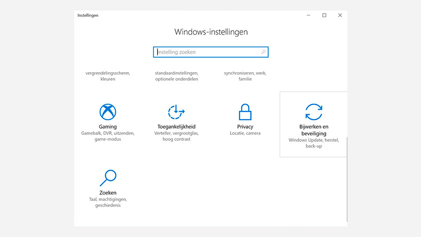 Windows settings menu. Update and security.