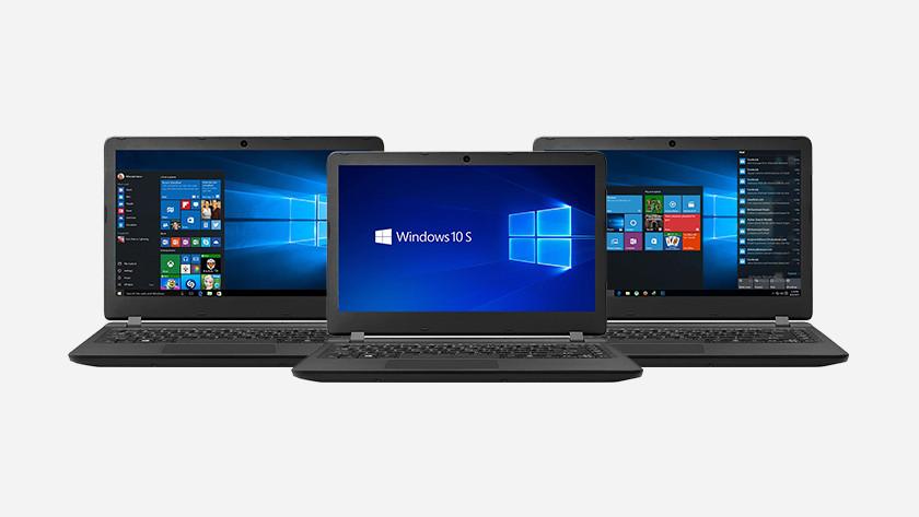 Drie Windows laptops naast elkaar.