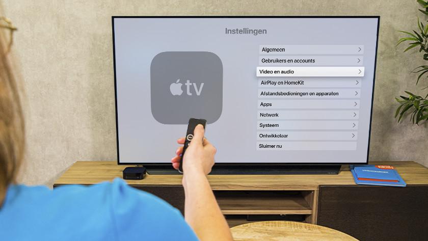 Open de instellingen op Apple TV en ga naar 'Video en audio'.