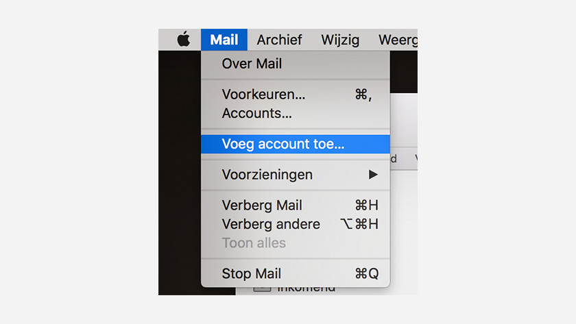 Apple Mail voeg account toe