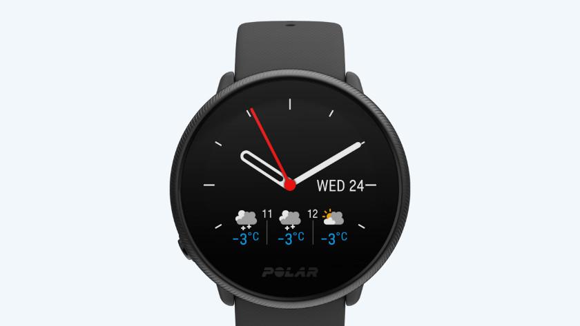 Smartwatch Polar Ignite klok en weersvoorspelling