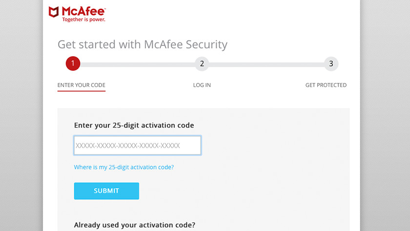 Enter activation code McAfee installation.