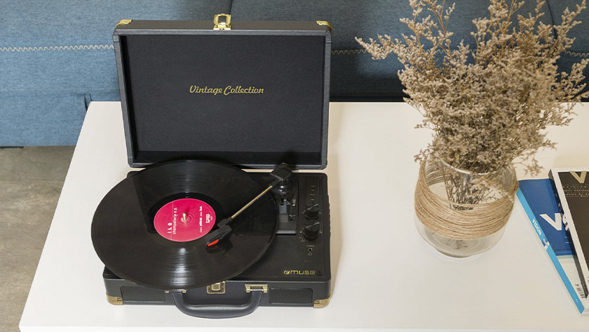 Record player with headphone connector