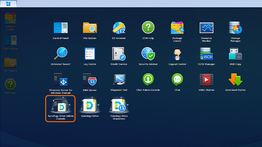 Synology Drive Admin Console in the app overview of Synology