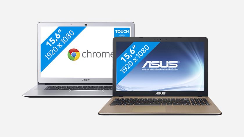 Twee laptops naast elkaar tot 400 euro.