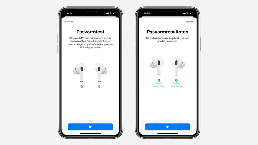 Pasvorm test op iPhone