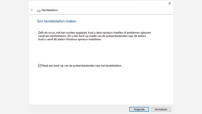 Het maken van een herstelstation in Windows 10.