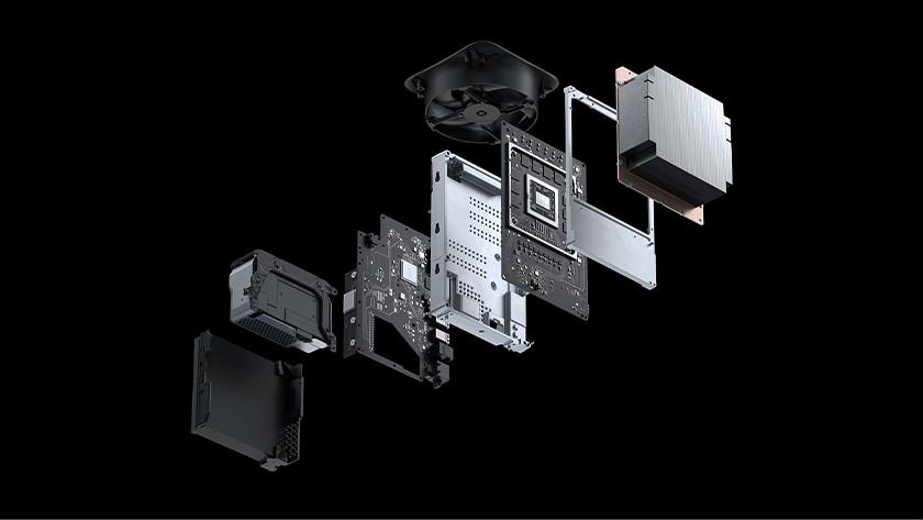 De binnenkant van een Xbox Series X console.