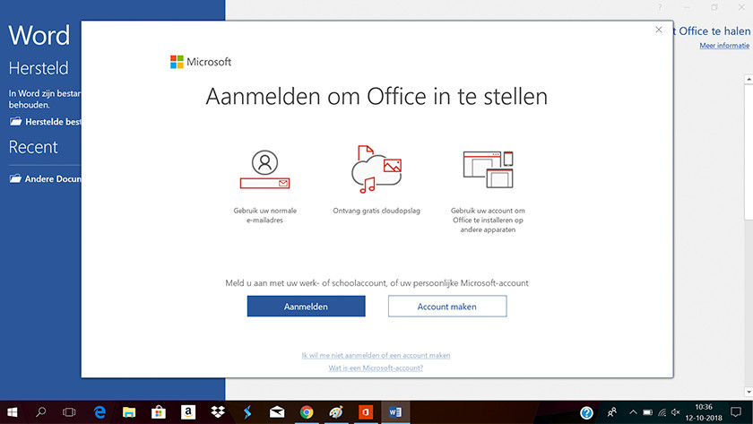 Meld je aan met je Microsoft account.