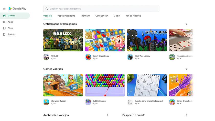 Google Play Store startscherm.