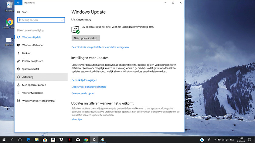 Windows Update venster in Windows 10.