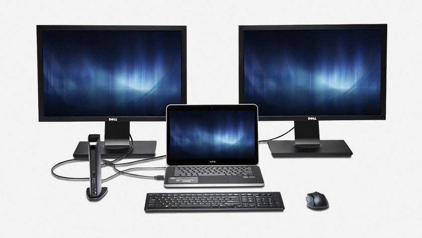 Monitors on laptop with docking station.