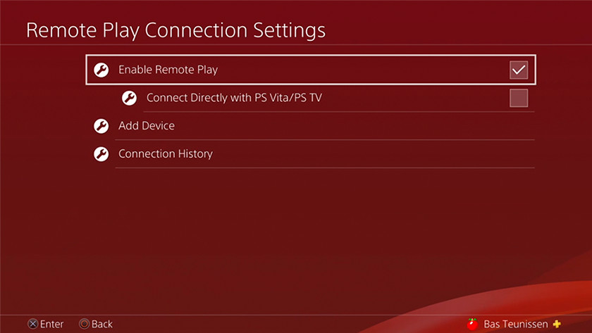 Remote connection menu
