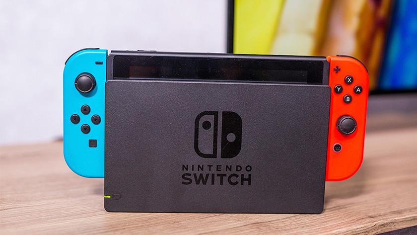 Nintendo Switch in docking station.