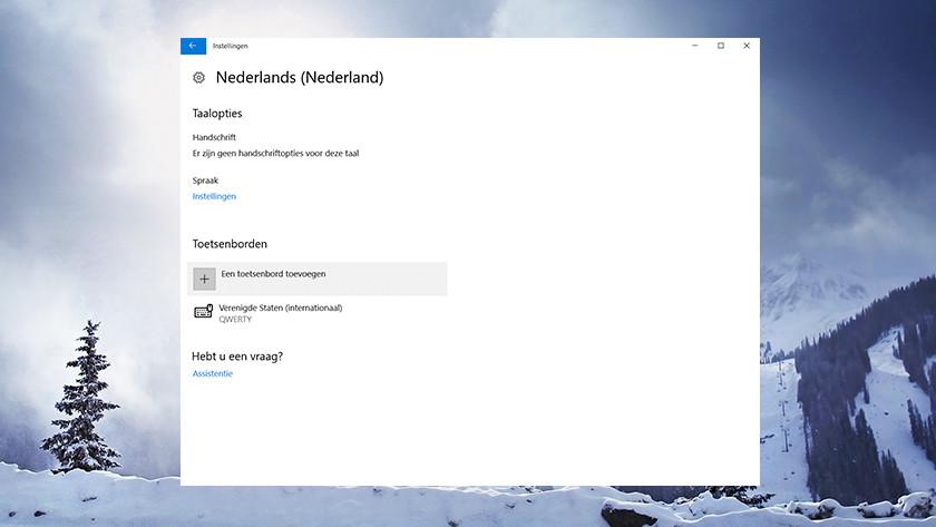The settings menu language in Windows.