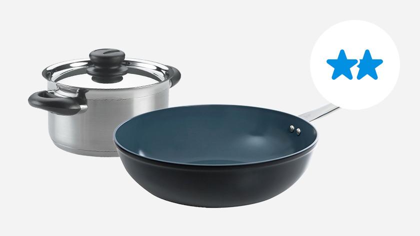 rvs kookpan met koude greep en keramische wokpan