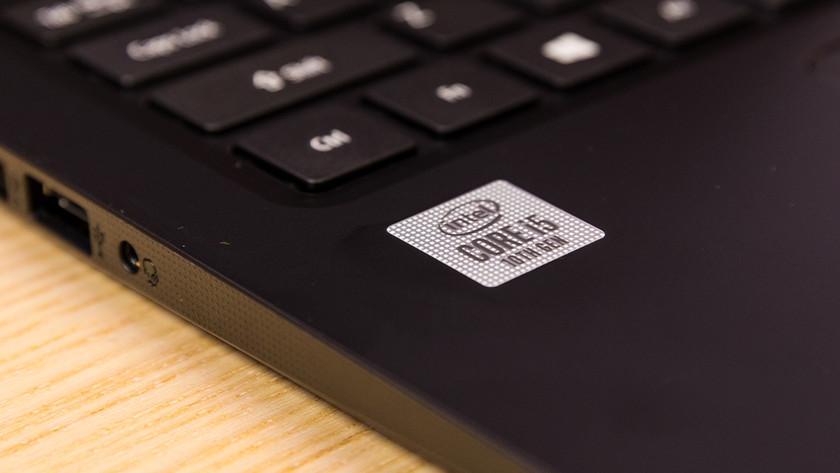 Intel processor sticker on laptop.