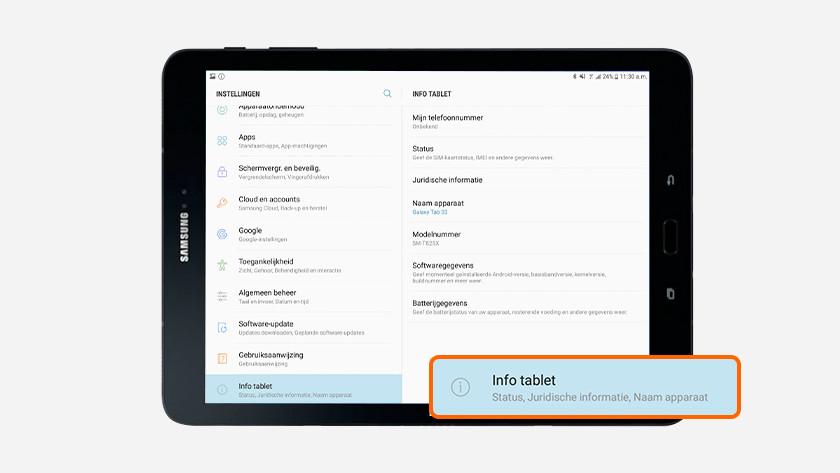 Serienummer instellingen Samsung tablet