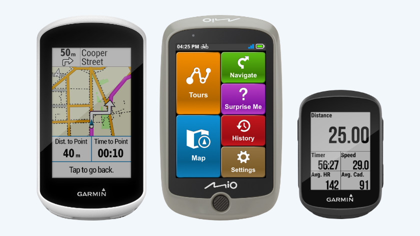 3 fietsnavigatiesystemen garmin en mio