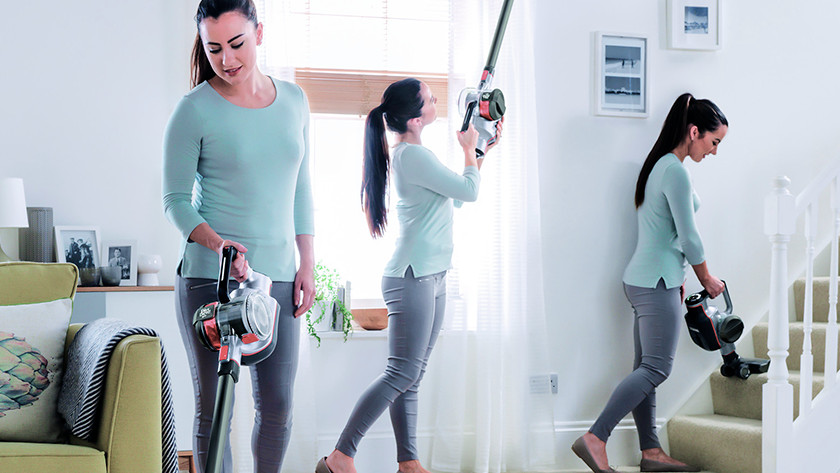 Cleaning large spaces with a stick vacuum