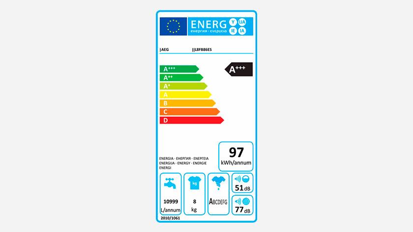 Energielabel AEG 8000 serie wasmachine