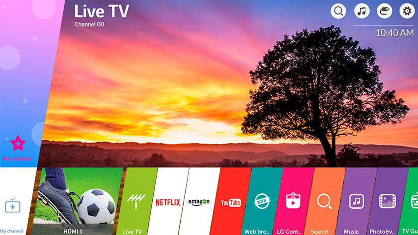 LG WebOS menu
