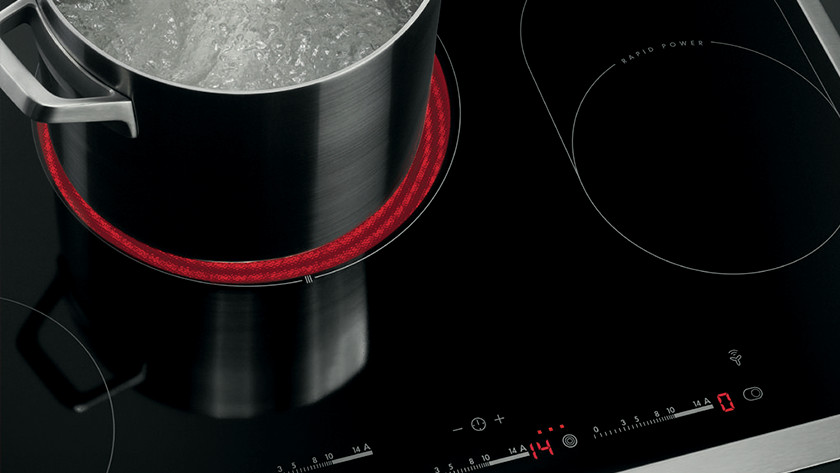 pans on a ceramic cooktop