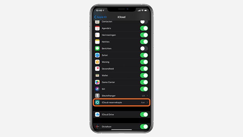 Tik op 'iCloud-reservekopie'