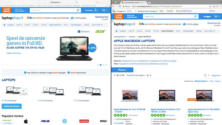 Apple MacBook programma's naast elkaar