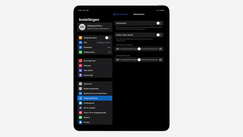 Muis instellen op iPad