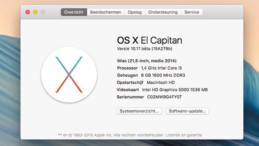 Het venster dat toont welke iMac je gebruikt. In dit geval heeft deze iMac 8GB DD3 RAM met een kloksnelheid van 1600 Megahertz.