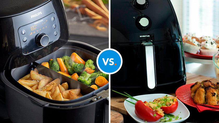 Airfryers with vegetables and fries