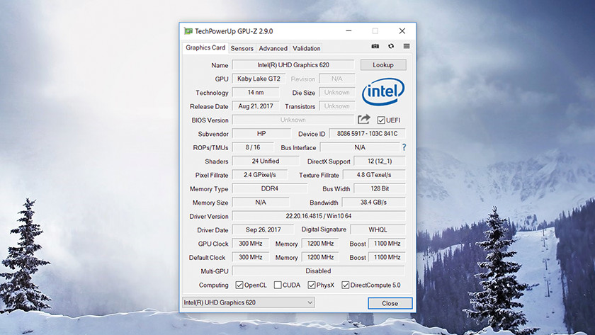 TechPowerUp GPU-Z op Windows 10.