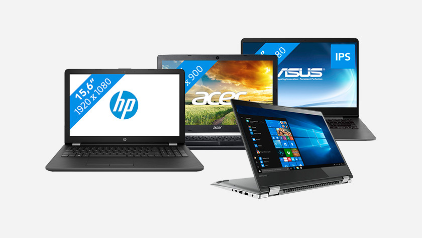Four different laptops shown side by side.