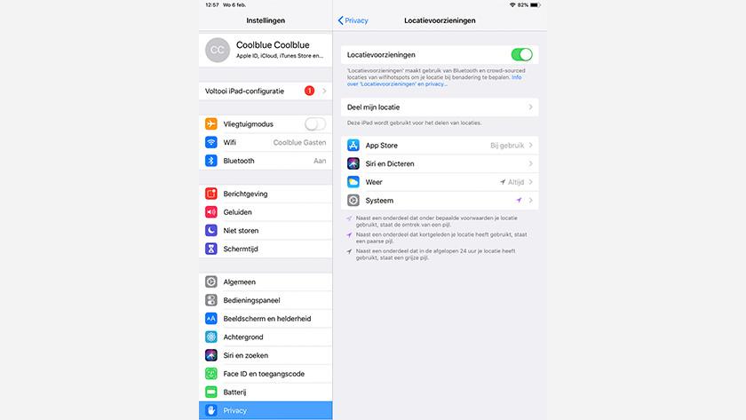 Beheer locatievoorzieningen iOS