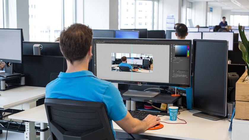 Werken achter ultrawide monitor