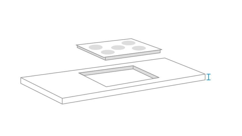 dikte keukenblad kookplaat opmeten