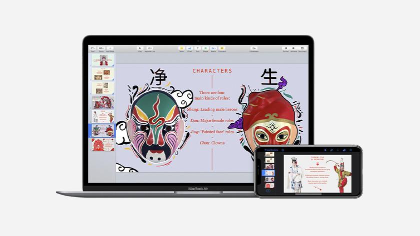 Apple Keynote op MacBook en iPhone