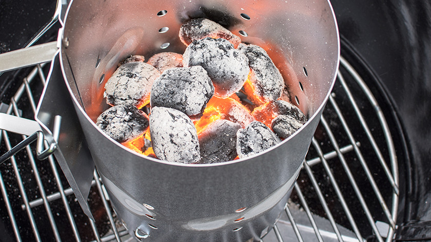 Lighting a charcoal barbecue