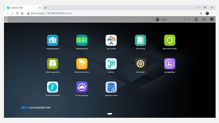 Overview of the Asustor desktop with Lockerstore App Central