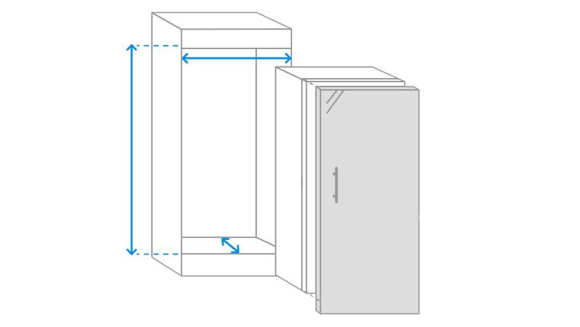 Belangrijkste inbouwmaten 1-deurskoelkast