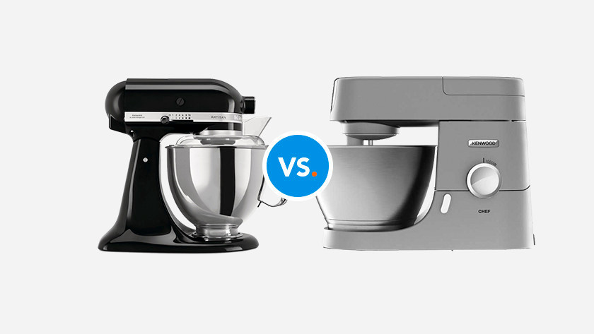 KitchenAid and Kenwood stand mixer on opposite sides