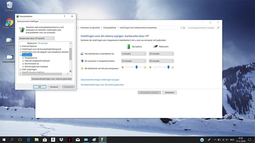 Schema instellingen op een Windows 10 laptop.