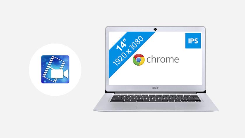 Acer Chromebook with PowerDirector icon.