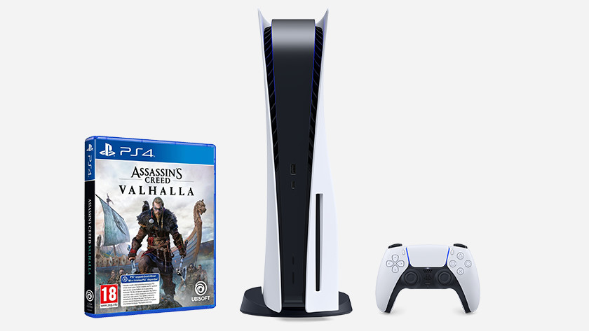PlayStation 5 with Assassin's Creed Valhalla PS4 version.