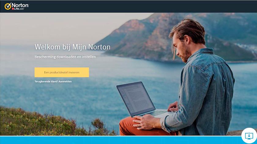 Aanmelden met account bij Norton Security.